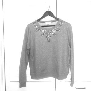 Cropped Crew Neck Sweater with Rhinestone Design